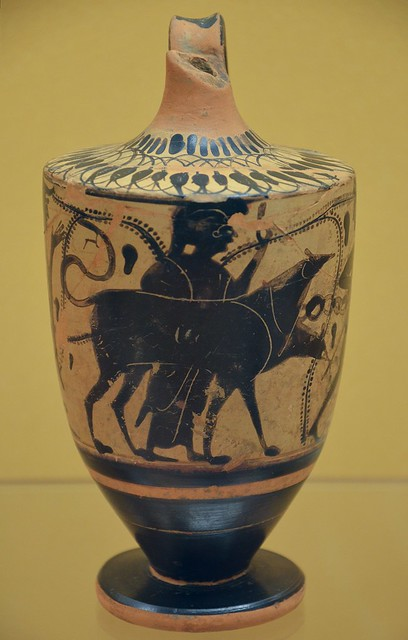 Lekythos oil flask with depiction of Herakles and Kerberos, from Greece, 500-470 BC, National Museum of Denmark, Copenhagen