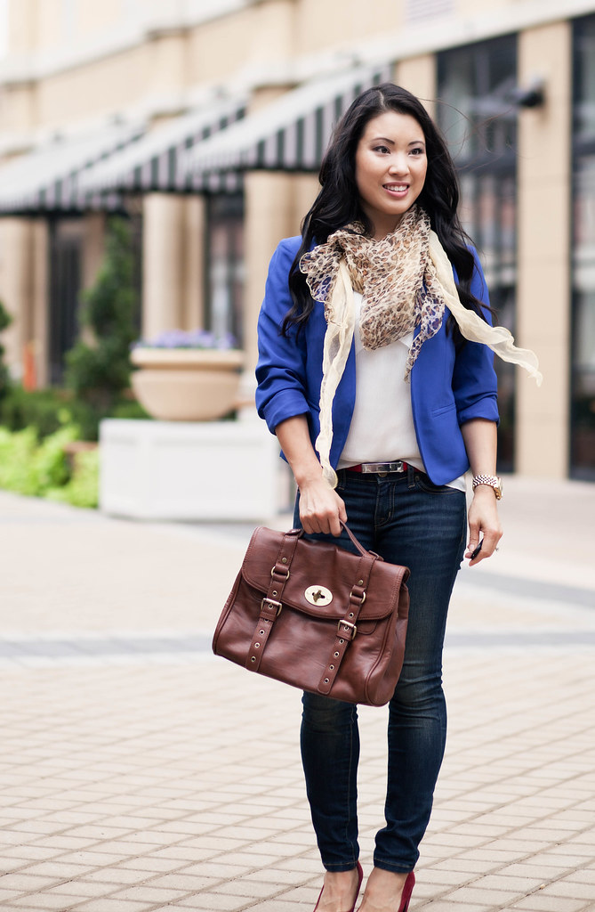 cute & little blog | cobalt blazer, leopard scarf, red heels, outfit #ootd, petite fashion