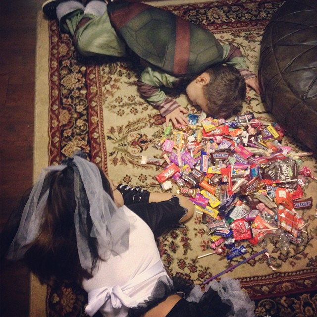 Sugar crash! (They totally posed for this picture! It was too cute, though!)