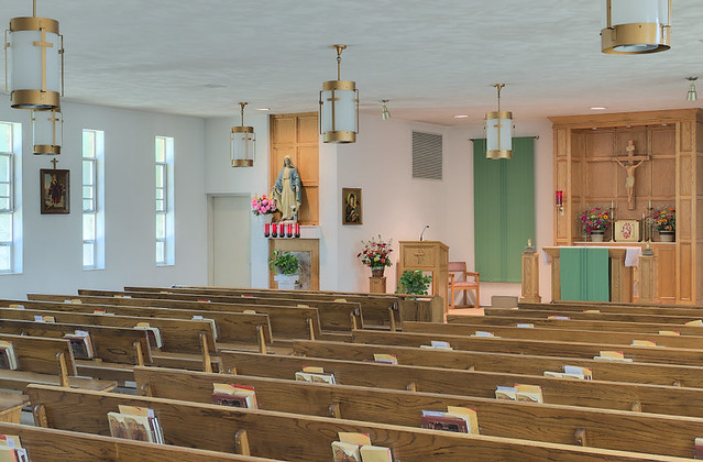 Saint Anthony Roman Catholic Church, in Glennon, Missouri, USA - nave