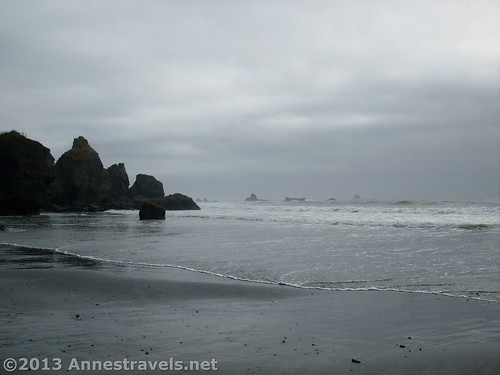 Hiking away from the main section of Ruby beach, we looked back at the rocks and sea stacks, Olympic National Park, Washington
