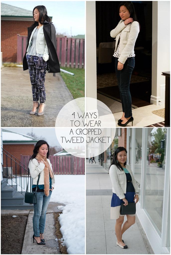 cropped tweed jacket, 4 ways to wear a tweed blazer, ways to wear tweed jacket