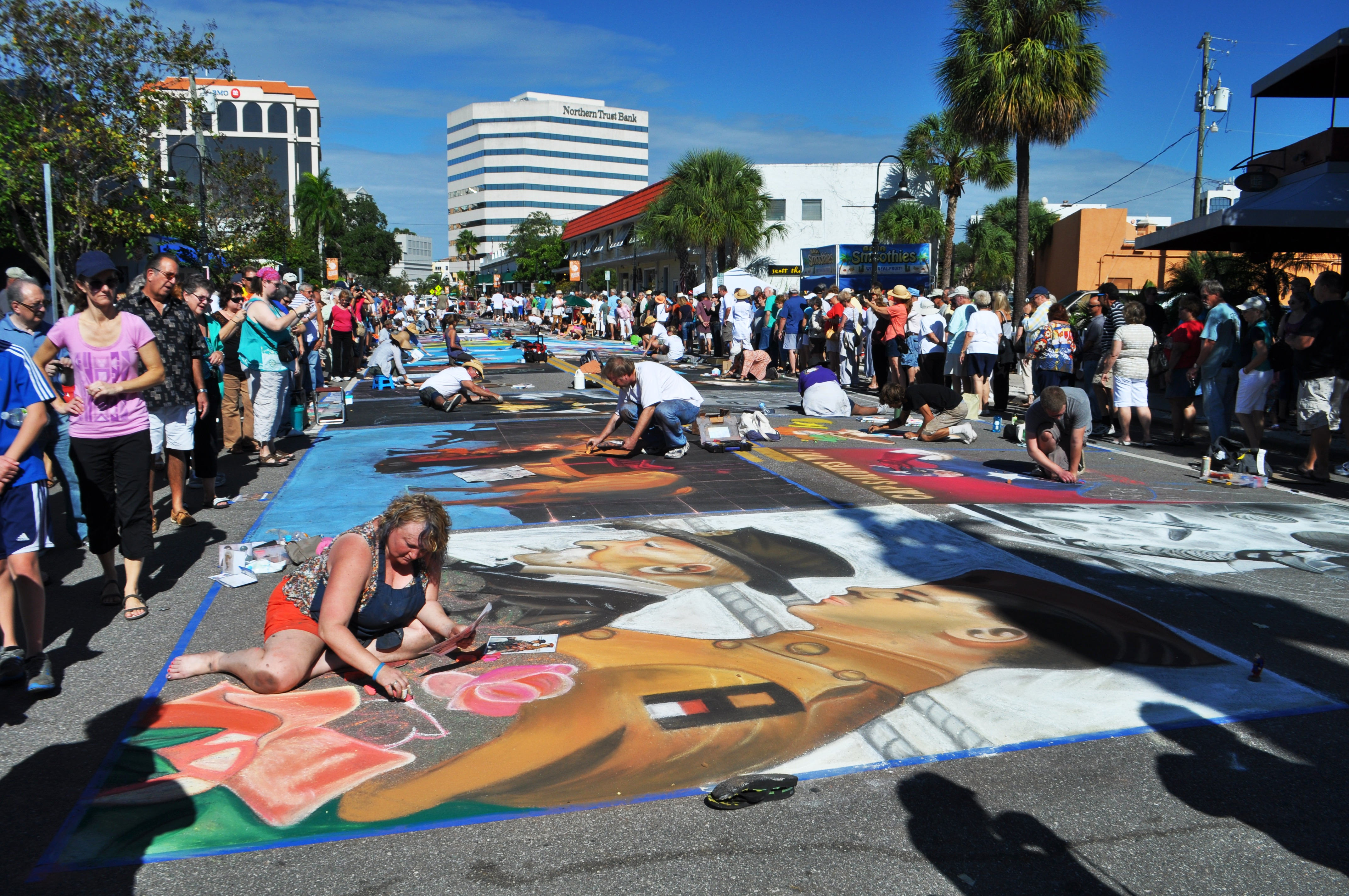 More than 500 Artists from Around the World Participate in the Annual Sarasota Chalk Festival, Fla., Nov. 17, 2013