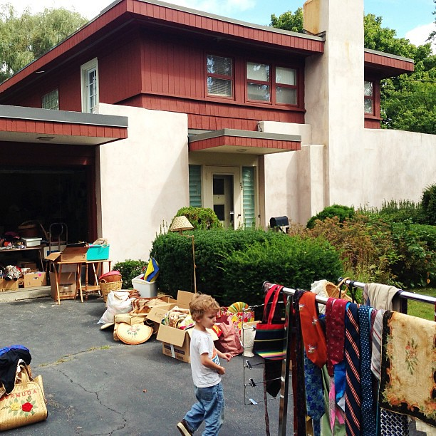 Garage today sale at our possible future house... A little bit of California in Maine.