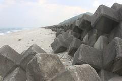 鄰近有聚落的花蓮海岸都被投擲了消波塊。