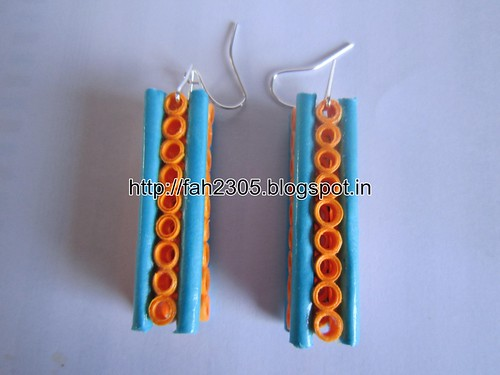 Handmade Jewelry - Paper Quilling Bar Earrings (8) by fah2305