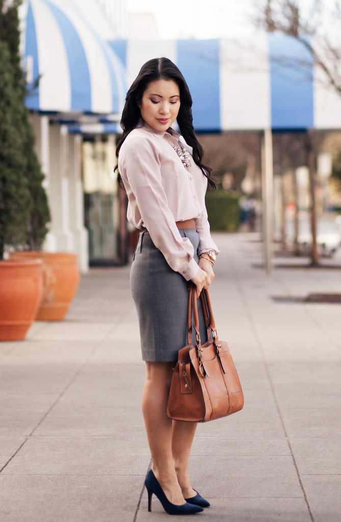 cute & little blog | everlane point collar silk blouse dusk, gray pencil skirt, navy suede pumps, pearl cluster statement necklace outfit
