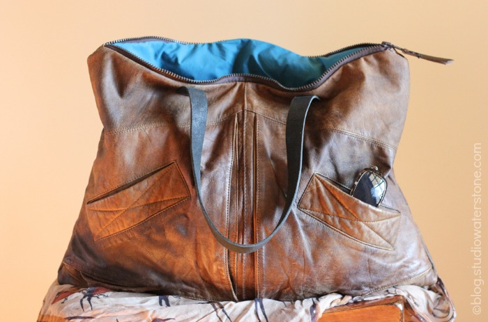 eco leather bomber bag