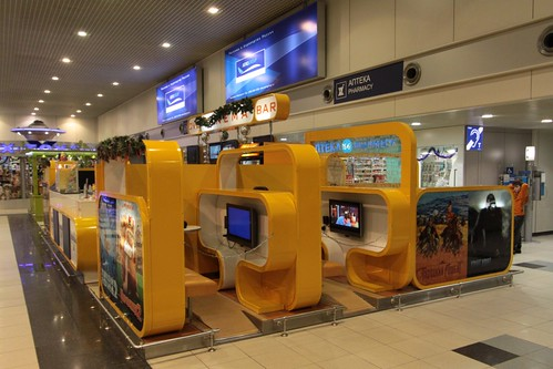 Pay-per-view movie booths in the departure hall
