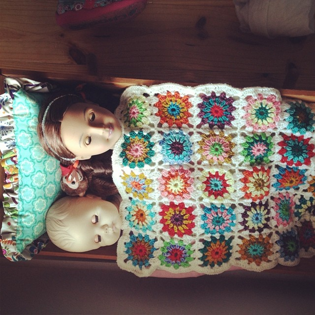 Blankie in action with new doll Alejandra.