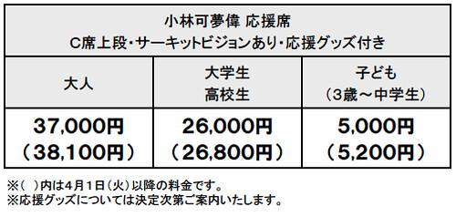 2014可夢偉応援席料金表