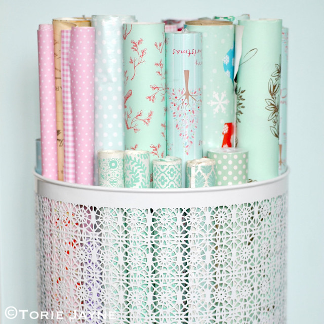 Organised gift wrap rolls