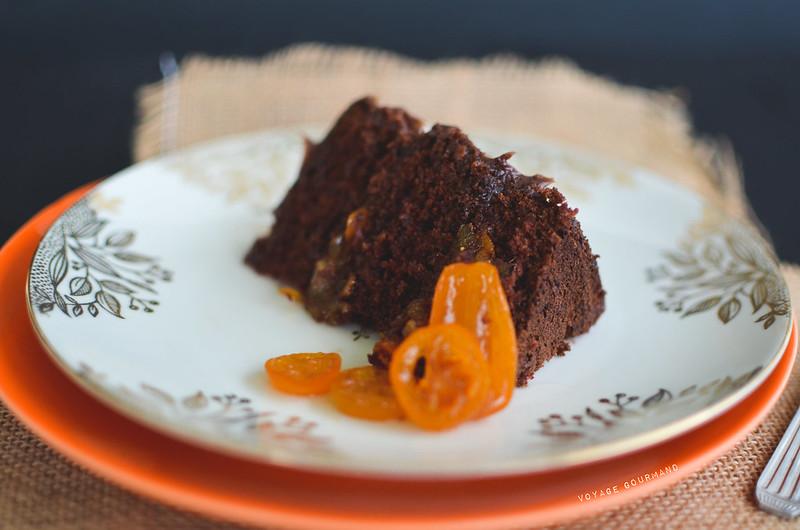 Gâteau au chocolat, kumquat confit et orange amère