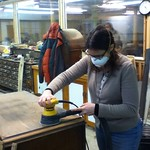 Lisa sanding away.... in the Wood Shop at Mt. Elliott Makerspace