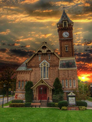 """york travel sunset sky ny building tower clock church architecture clouds town us district united small gothic historical methodist 1001nights marcellus """"new """" nrhp onasill """"onondaga county""""village"""