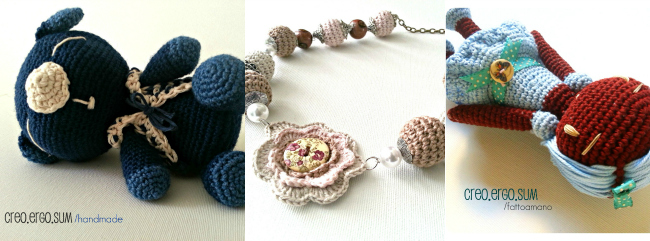 negozio handmade giorgia creo ergo sum, bambola, collane amigurumi, cuscino crochet, collaborazione a little market