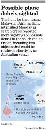Notice of possible debris from missing Malaysian plane sighted. Over 200 people were on the plane. by Pan-African News Wire File Photos