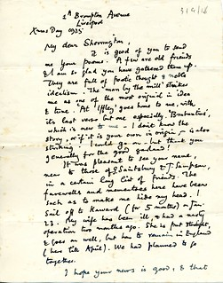 Elton to Sherrington - 25 December 1925 (S/3/4/18)