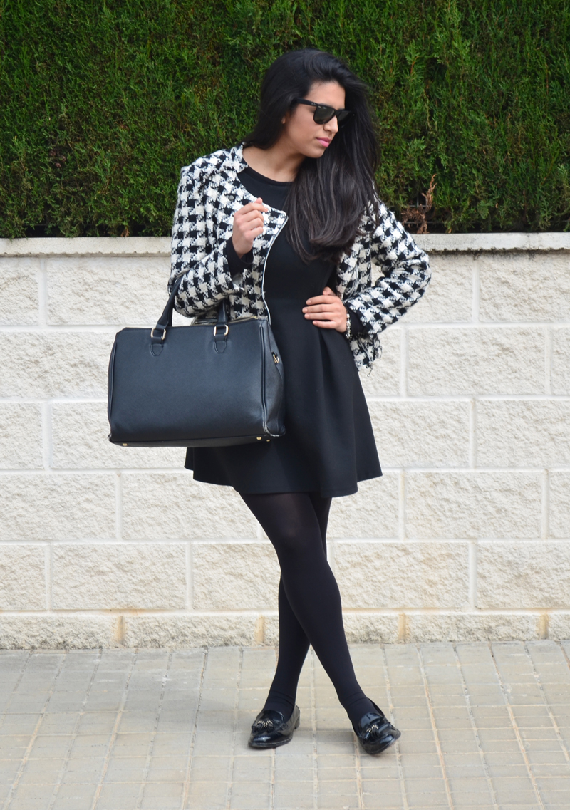 florenciablog tweedjacket estampado pata de gallo little black dress LBD mocasines zara (3)