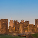 Caerphilly castle moon