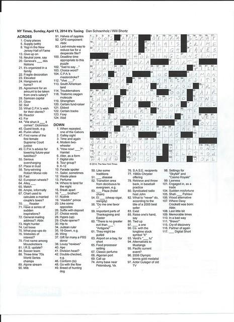 NYT Sunday Puzzle - April 13, 2014