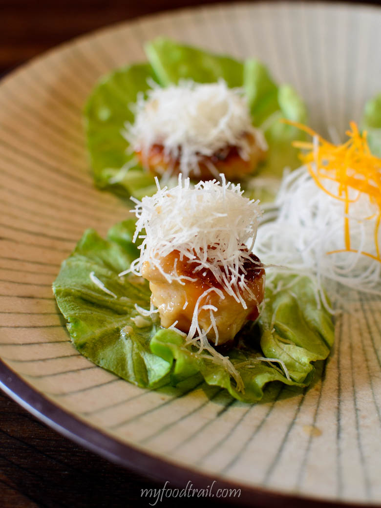 'Glacier 51' Patagonian toothfish lettuce cups - 4 pieces of grilled miso marinated sustainable toothfish lettuce cups - Sake Restaurant, Melbourne