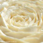 Торт покрыт масляным кремом и оформлен в виде розы