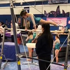 I missed grabbing an insta of her on vault but that was an 8.8. Bars, she got a 9.0. All in all her highest scoring meet ever. 36.4 total. Way to go Cadence!!!