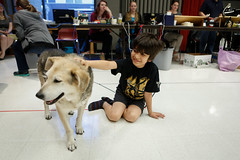 Akash Chopra (Mowgli) pals around with a backstage buddy during his break in rehearsal for the world-premiere musical adaptation of THE JUNGLE BOOK. Photo: Liz Lauren
