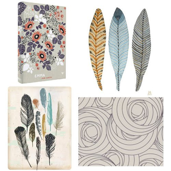 Flowery and feathery finds from my Pinterest boards: 1. Emma by Jane Austen, 2. Feathery Plumes No. 19 by Golly Bard, 3. Mackintosh Rose Wallpaper by Graham and Brown, 4. Feathers by Groundwork, Danna Ray | Emma Lamb