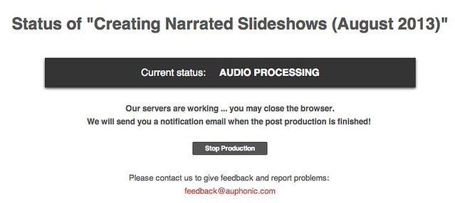 "Status of ""Creating Narrated Slideshows (August 2013)"""