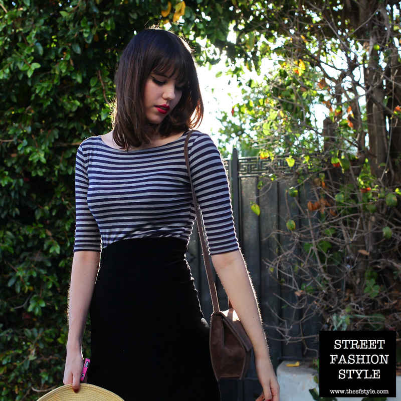 erin cherry, striped boatneck top, midi skirt, midi, vintage bag, hat, los angeles fashion blog, street fashion style,
