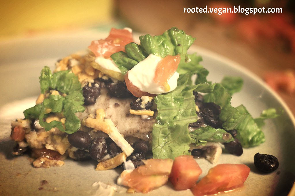 black bean pie with follow your heart shreds by rootedvegan.blogspot.com