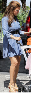 Kourtney Kardashian Denim Dress Celebrity Style Women's Fashion