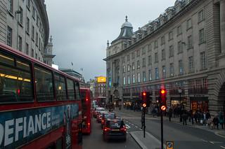 Dans le bus sur Regent's Street