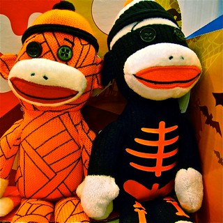 seasonal sock monkeys, in costume