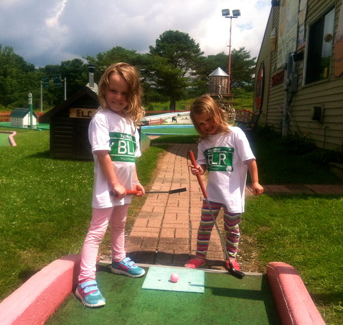 The Carter Girls playing mini gold in BLR tees