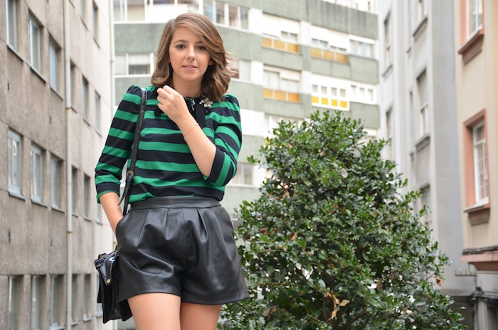 zara shorts piel