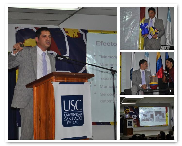 Juan José Larrea disertando en Colombia