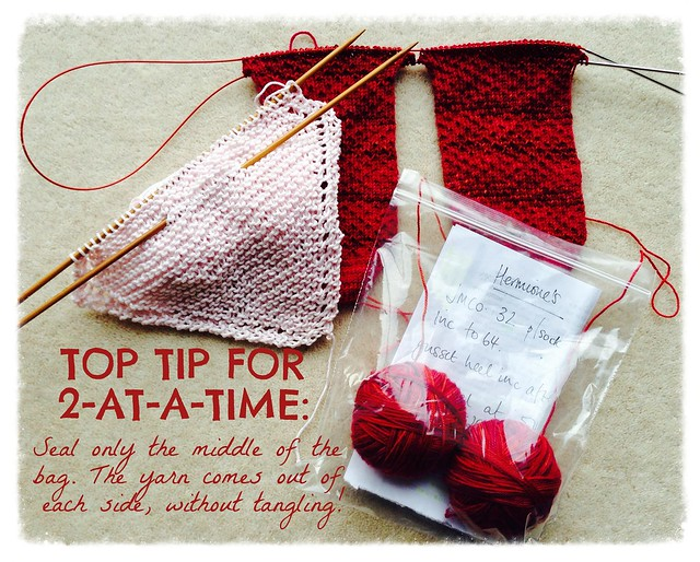 Top Tip for 2-at-a-time knitting without tangles!