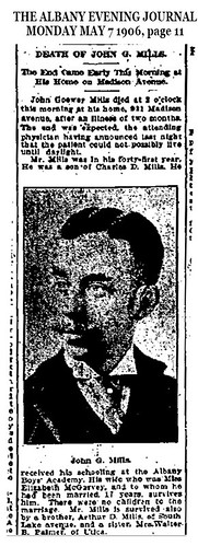 John G Mills Obituary 1906