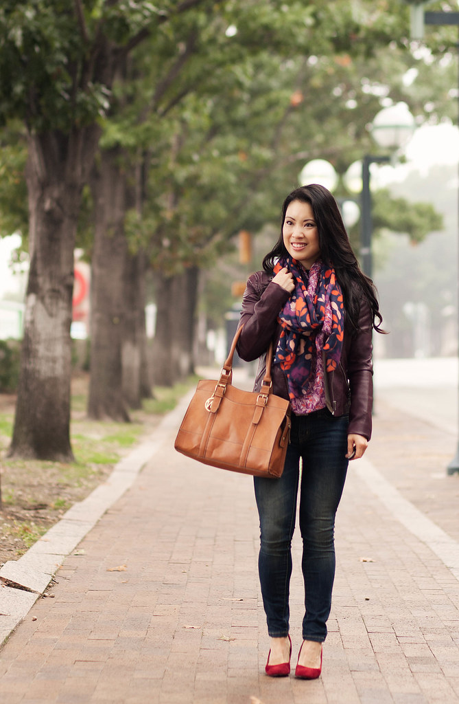 cute & little blog | merlot wine moto jacket, navy leaves scarf, red pumps outfit | fall layering
