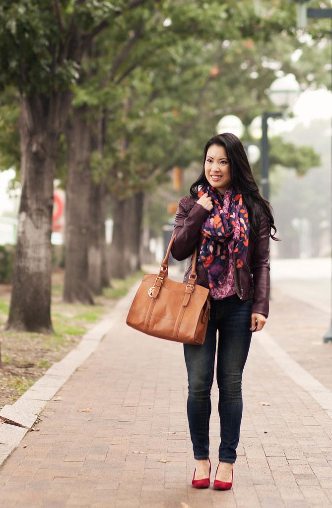 cute & little blog | merlot wine moto jacket, navy leaves scarf, red ...