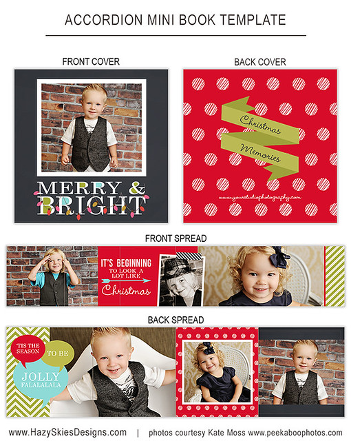 Accordion Mini Book Templates for Photographers www.hazyskiesdesigns.com AM123