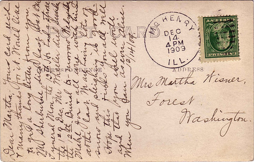 Dec 1909 Alice to Martha (Morey) Wisner
