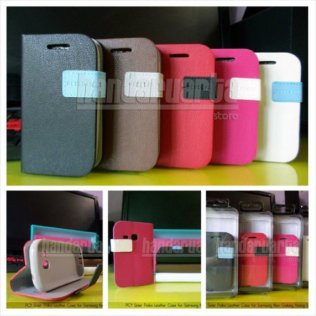 Polka Leather Case for Samsung New Galaxy Young S6310 | IDR 80.000