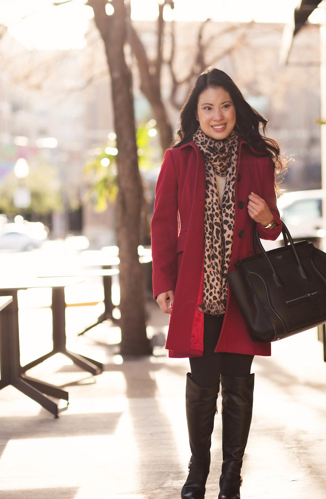 cute & little blog | red wool coat, leopard scarf, lululemon black wunder under tights, vince camuto bedina otk boots outfit
