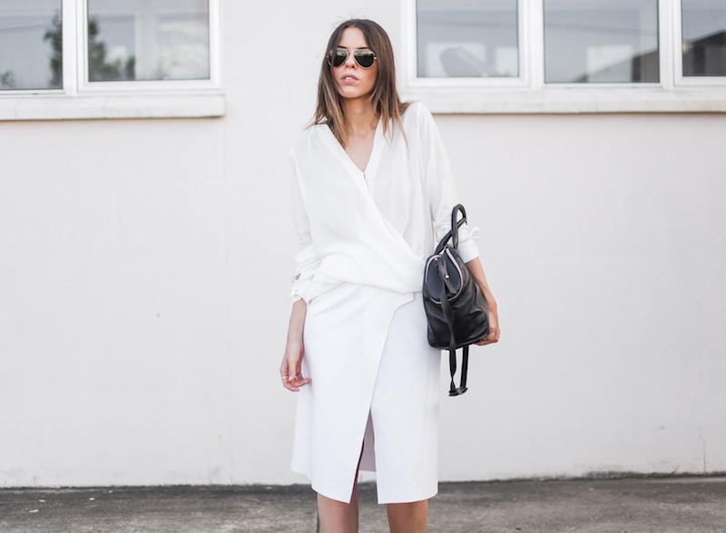 modern legacy fashion street style blog australia Christopher Esber flip split midi skirt drape blouse Witchery Alexander Wang Chastity chain tote bag white on white monochrome (2 of 2)