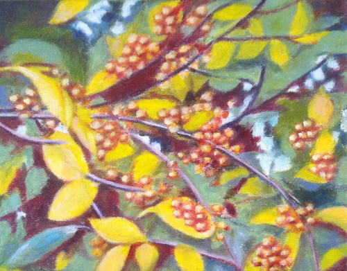 Branch with Golden Berries (Oil Bar Painting) by randubnick