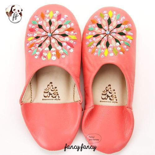 79.繽紛糖果MIX亮片刺繡皮拖鞋(摩洛哥製)-粉紅色